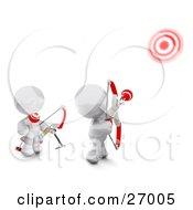 Clipart Illustration Of Two White Meta Men Shooting Arrows At Targets With Bows
