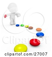 Clipart Illustration Of A White Meta Man Bending Over To Pick Up Pieces Of Colorful Candies That Have Ben Set In A Path For Him To Follow