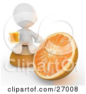 White Meta Man Sitting On Top Of Half Of An Orange Beside The Other Half Drinking A Glass Of Orange Juice