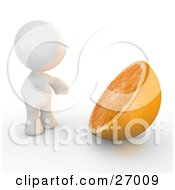 Clipart Illustration Of A White Meta Man Standing In Front Of A Giant Halved Orange