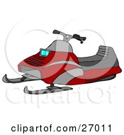 Clipart Illustration Of A Red Snowmobile With Gray Stripes And A Cushioned Seat
