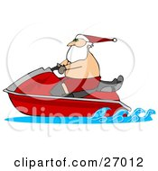Clipart Illustration Of Santa Claus Wearing Shorts And A Hat Riding On A Red Jet Ski
