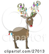 Clipart Illustration Of Rudolph The Red Nosed Reindeer With Colorful Christmas Lights Decorating His Antlers And Tail by Dennis Cox