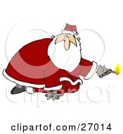 Santa Claus Kneeling And Holding A Lit Match Preparing To Light Something On Fire