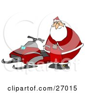 Santa Claus Holding A Gas Can And Standing By A Snowmobile After Running Out Of Gas