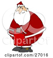 Clipart Illustration Of Santa Claus In His Suit Carrying A Gas Can After Running Out Of Gasoline