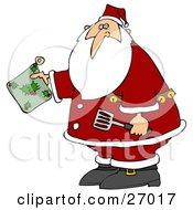 Santa Claus Holding A Green Holly Hot Pad And Spatula In The Kitchen