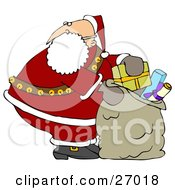 Clipart Illustration Of Santa Claus Looking Over His Shoulder While Stuffing His Toy Sack Full Of Gifts