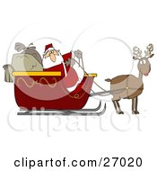 Clipart Illustration Of Rudolph The Red Nosed Reindeer Pulling Santa Claus And His Heavy Toy Sacks In A Red Sleigh
