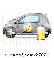 Clipart Illustration Of A Compact Silver Battery Powered Car With A Lightning Bolt On The Door And A Yellow Battery On The Side