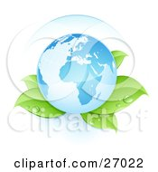 Clipart Illustration Of Blue Planet Earth Resting Gently On Top Of Dew Covered Plant Leaves