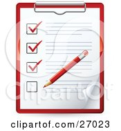 Red Pencil Marking Of Items On A Check List On A Clipboard