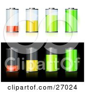 Clipart Illustration Of Orange Yellow And Green Batteries Forming A Bar Graph Showing Low To High Battery Power Offered On White And Black Backgrounds