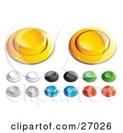 Yellow White Black Green Blue And Red Push Buttons For A Game Or Web Design Element