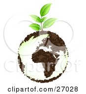 Clipart Illustration Of An Organic Green Seedling Plant With Dew Drops Growing From Planet Earth With Continents Made Of Soil