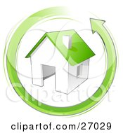 Clipart Illustration Of An Energy Efficient House With A Green Roof In The Center Of A Green Arrow Circling