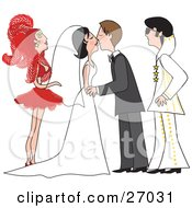 Clipart Illustration Of A Bride And Groom In A Gown And Tuxedo Kissing At Their Vegas Wedding Ceremony With A Showgirl And An Elvis Impersonator As Their Witnesses by Maria Bell #COLLC27031-0034