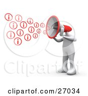 White Person With A Red Megaphone Head Shouting Out Information