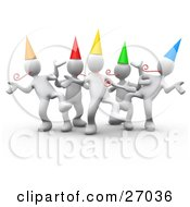 Group Of White People Wearing Party Hats And Blowing Noise Makers While Dancing At A Birthday Or New Years Eve Party