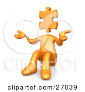 Orange Person With A Jigsaw Puzzle Piece Head Sitting And Shrugging Symbolizing Uncertainty Or Confusion
