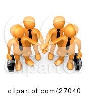 Clipart Illustration Of Four Orange Business People Carrying Briefcases And Standing With Their Hands Piled Symbolizing Teamwork Cooperation Support Unity And Goals
