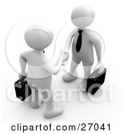 Clipart Illustration Of A Couple Of White People With Briefcases Engaged In A Handshake by 3poD