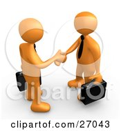 Poster, Art Print Of Couple Of Orange People With Briefcases Engaged In A Handshake