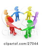 Group Of Diverse Blue Yellow Purple Green Red And Orange People With Euro Heads Standing In A Circle And Holding Hands