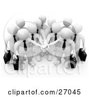 Clipart Illustration Of A Group Of White Business People Carrying Briefcases And Standing With Their Hands Piled Symbolizing Teamwork Cooperation Support Unity And Goals