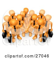 Clipart Illustration Of A Group Of Orange Business People Carrying Briefcases And Standing With Their Hands Piled Symbolizing Teamwork Cooperation Support Unity And Goals
