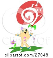 Clipart Illustration Of A Happy Gingerbread Man Standing By A Flower And Flying A Swirly Kite Or Balloon by bpearth