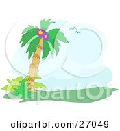 Clipart Illustration Of A Couple Of Blue Seagulls Flying Above A Palm Tree With Flowers In It