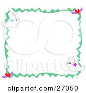 Clipart Illustration Of A Stationery Border Of White Bunny Rabbits And Hearts by bpearth