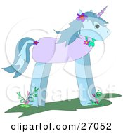 Clipart Illustration Of A Cute Blue And Purple Unicorn Wearing Flowers In Its Mane