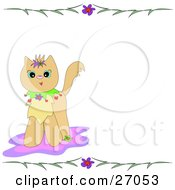 Clipart Illustration Of A Cute Brown Kitty Cat On A Pink Rug With A Stationery Border Of Flowers And Leaves by bpearth