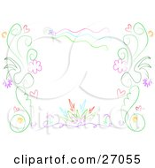Clipart Illustration Of A Floral Border Of Pink Red Blue And Green Hearts And Scrolls Over White