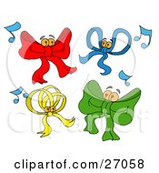 Clipart Illustration Of A Group Of Red Blue Yellow And Green Dancing Bows With Music Notes And Bells As Eyeballs by LaffToon