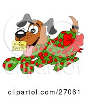 Clipart Illustration Of An Excited Puppy Wrapped In Green And Red Polka Dot Wrapping Paper With A Red Bow And A From Santa Gift Tag On His Nose