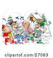 Group Of Happy Elves Walking Through A Winter Village And Listening To Christmas Music On CD Players