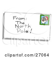 Clipart Illustration Of A Christmas Envelope From The North Pole With A Santa Stamp by LaffToon