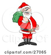Clipart Illustration Of Santa Claus Smiling And Standing With A Green Toy Sack Over His Shoulder