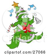 Jolly Christmas Tree Character With Ornaments A Star And Garland Dancing And Ringing A Bell While Listening To Music