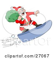 Clipart Illustration Of Santa Carrying His Sack And Snowboarding Down A Mountain While Delivering Christmas Presents by LaffToon