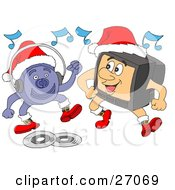 Clipart Illustration Of A CD Player And Television Characters Wearing Santa Hats And Boots Dancing And Listening To Christmas Music by LaffToon