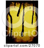 Clipart Illustration Of A Yellow Background Bordered By Black Grunge And Paint Dripping From The Top