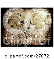 Brown Background With Black And White Vines And Leaves And Splatters With A Canvas Texture
