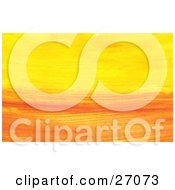 Clipart Illustration Of A Background Of Paint Brush Strokes Of Yellow And Orange