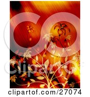 Clipart Illustration Of Blooming Orange And Yellow Flowers Over A Blurred Yelow And Red Background