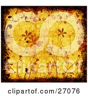Clipart Illustration Of Brown And Red Flowers Over A Yellow Background With Scuffs Bordered By Black Grunge Texture