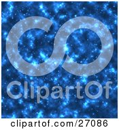 Clipart Illustration Of A Blue Starry Outer Space Background by KJ Pargeter